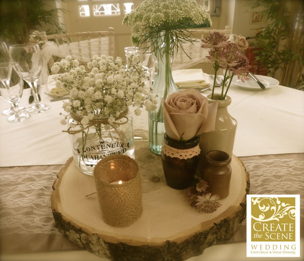 Rustic Decor perfect for table wedding decoration complete with hessian and lace runner